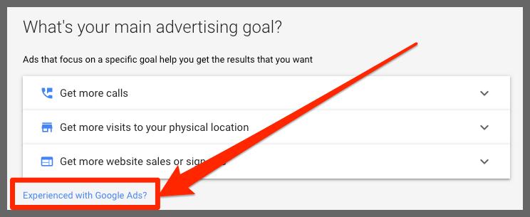 Main advertising goal (Google Ads)
