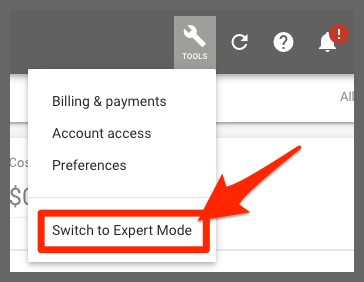 Switch to expert mode (Google Ads)
