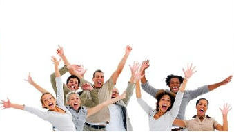 Energetic staff waving in unison